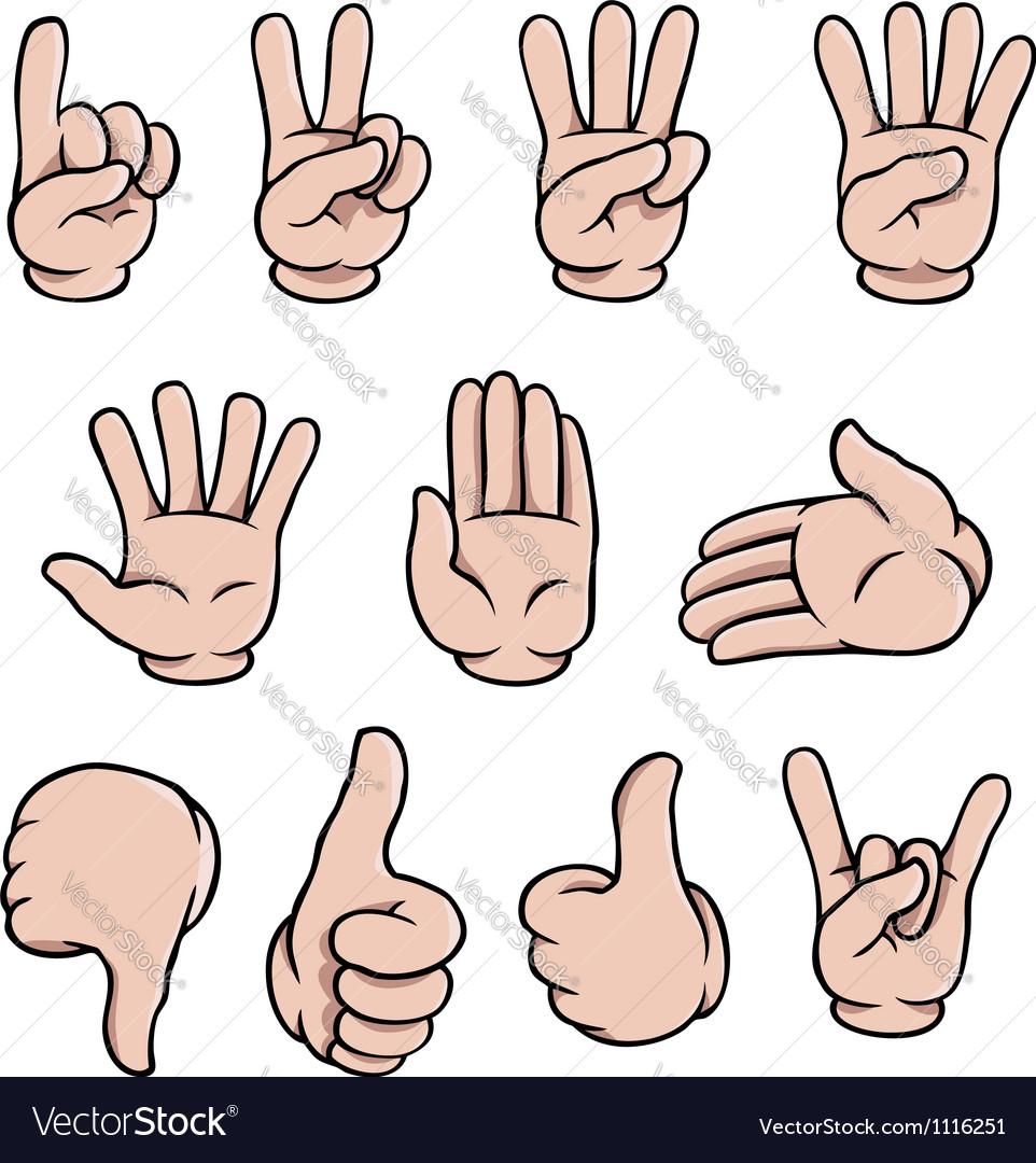 Cartoon hands set vector