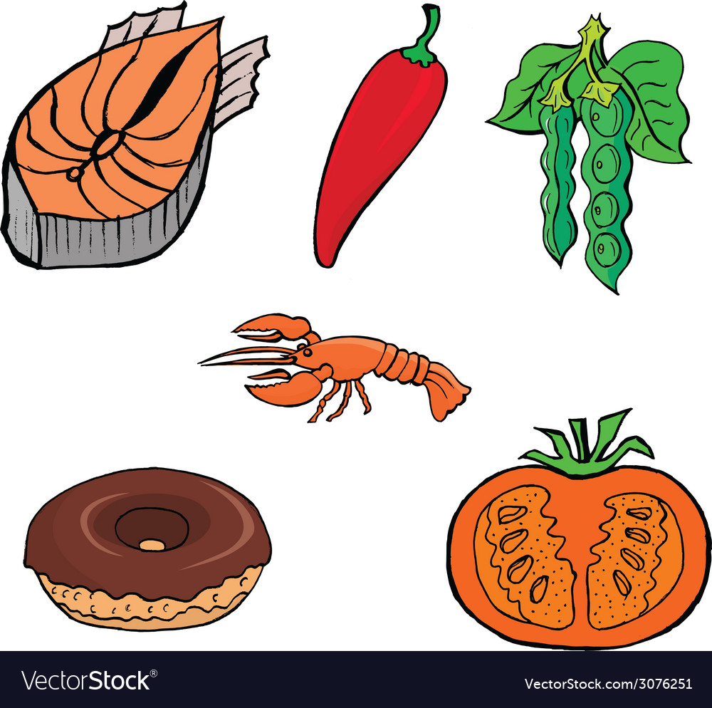Cutting fishred pepperlobsterdonutpeascutting toma vector | Price: 1 Credit (USD $1)