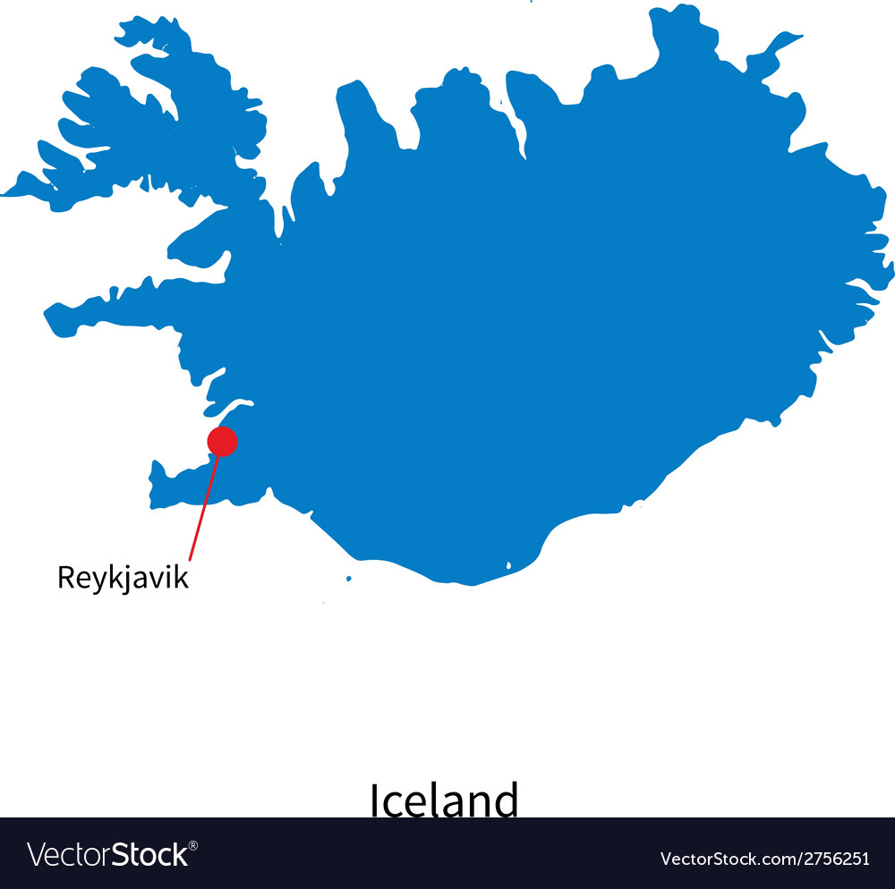 Detailed map of iceland and capital city reykjavik vector | Price: 1 Credit (USD $1)