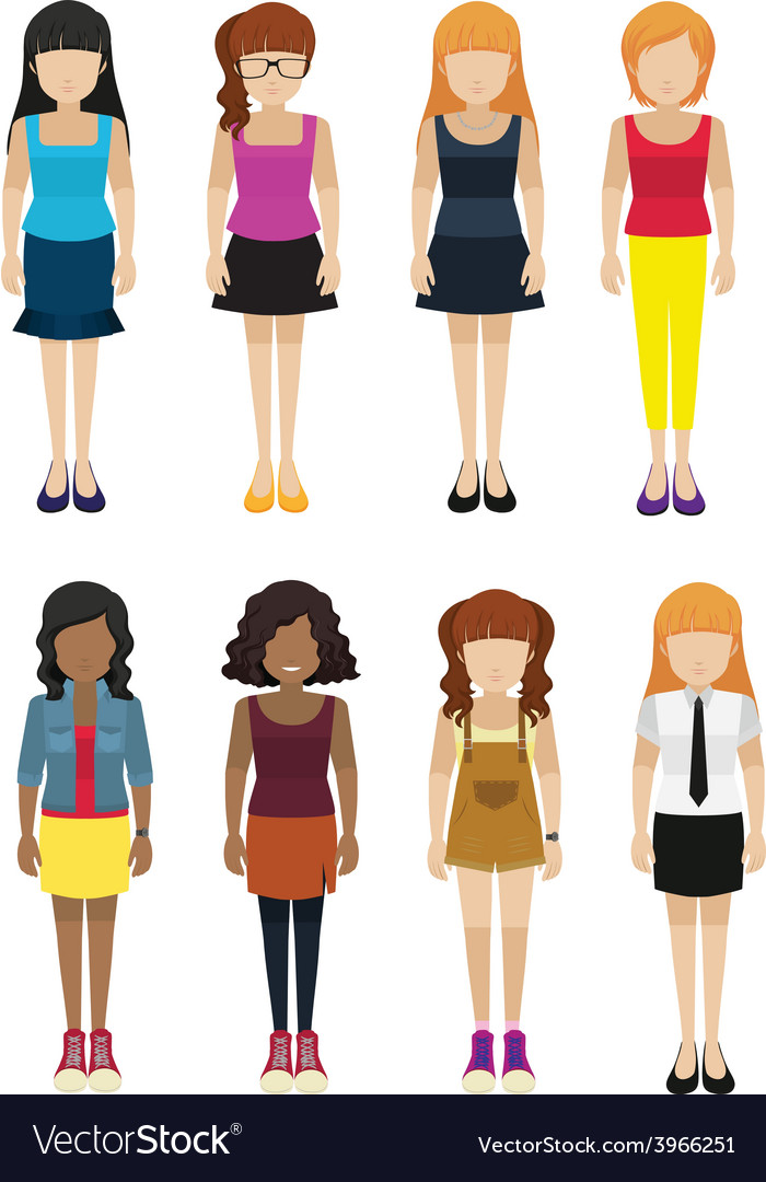 Eight faceless ladies vector | Price: 1 Credit (USD $1)