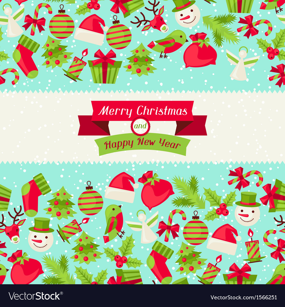 Merry christmas seamless pattern vector | Price: 1 Credit (USD $1)