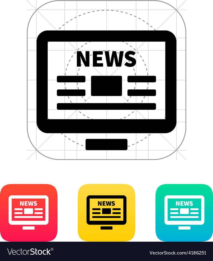 Online news desktop pc newspaper icon vector | Price: 1 Credit (USD $1)