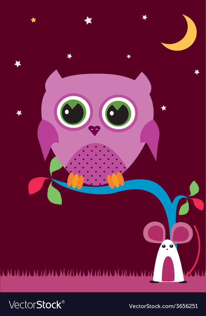 Owl-in-the-night-1 vector | Price: 1 Credit (USD $1)