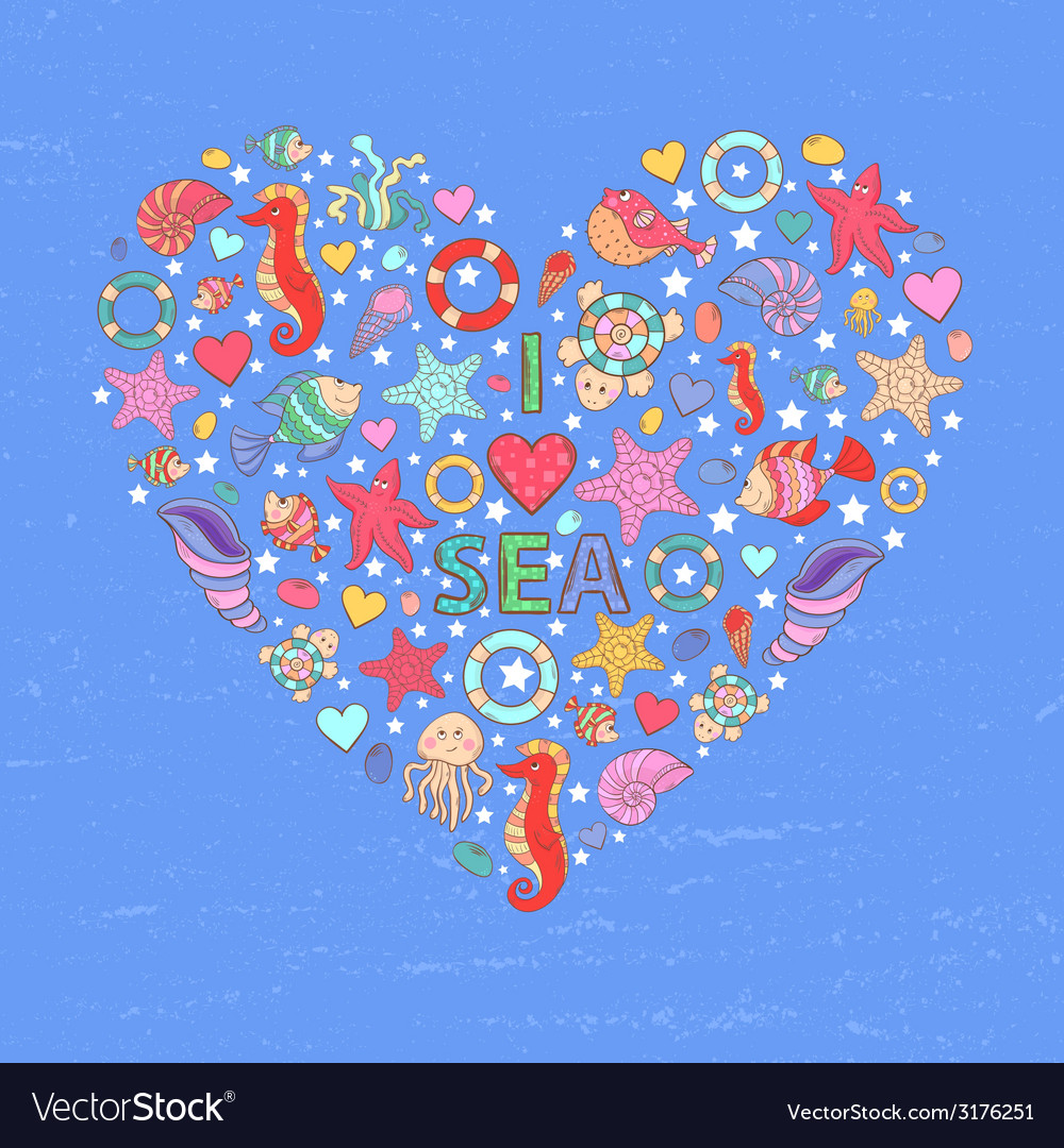 Sea life heart background vector | Price: 1 Credit (USD $1)