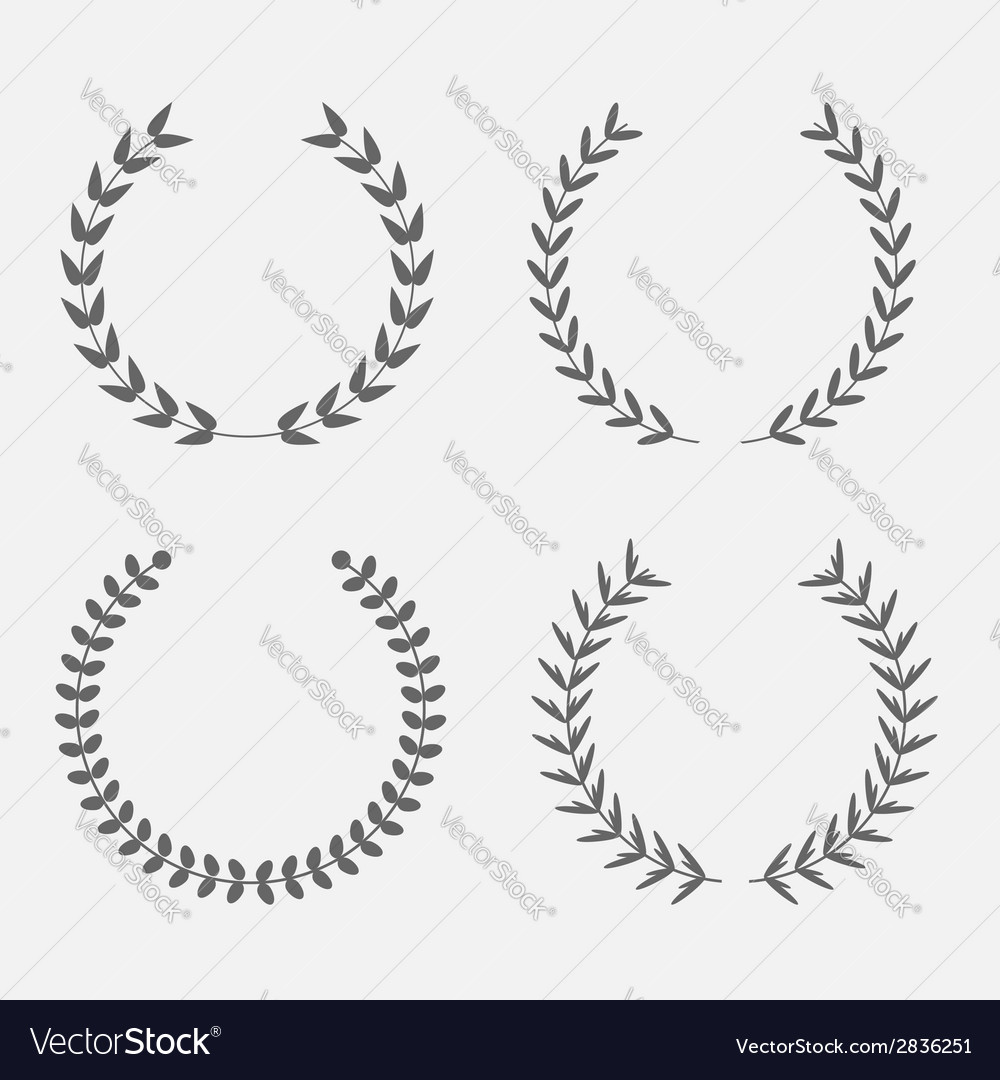Set of silhouette round laurel foliate wheat wreat vector | Price: 1 Credit (USD $1)