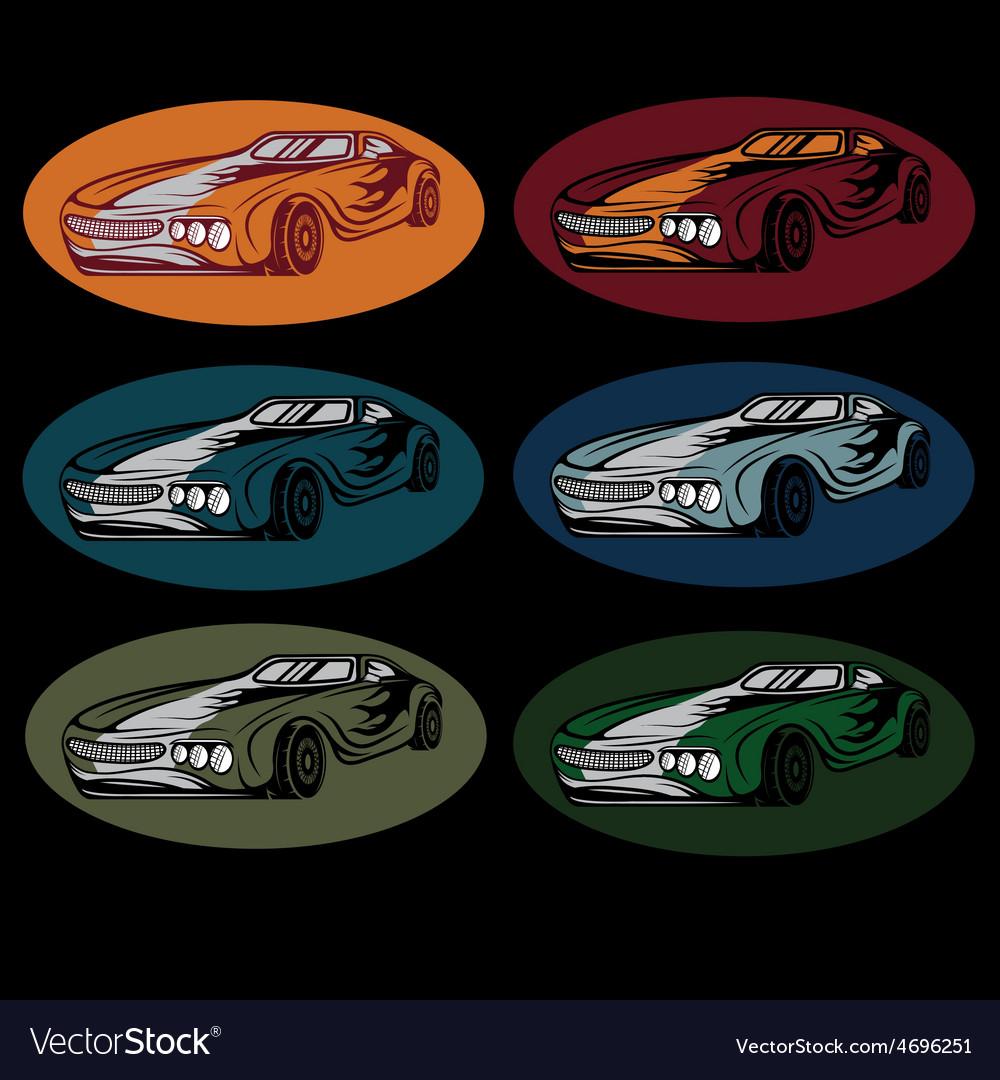 Set of vintage sport car vector | Price: 1 Credit (USD $1)