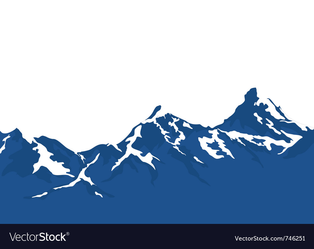 Snow capped mountains isolated on white background vector | Price: 1 Credit (USD $1)