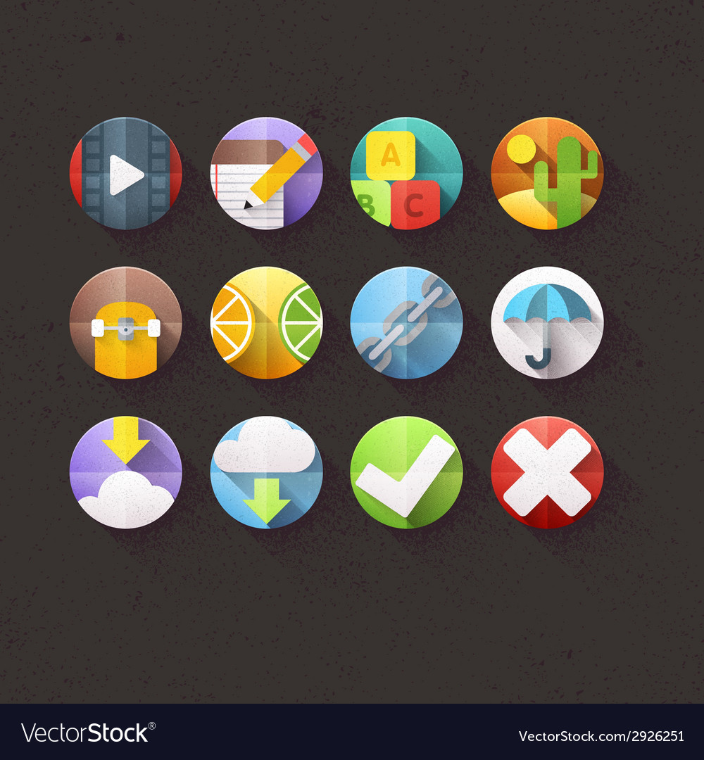 Textured flat icons for mobile and web set 4 vector | Price: 1 Credit (USD $1)