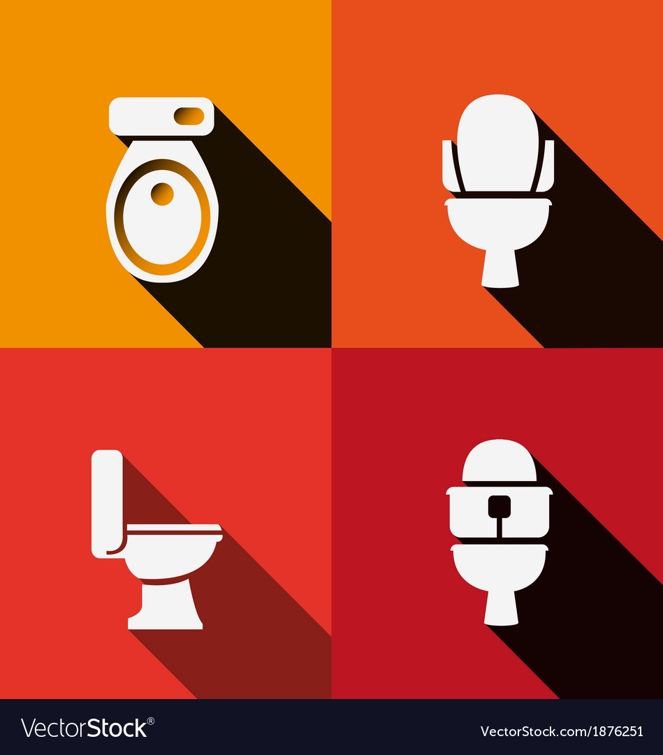 Wc toilet icon long shadow vector | Price: 1 Credit (USD $1)