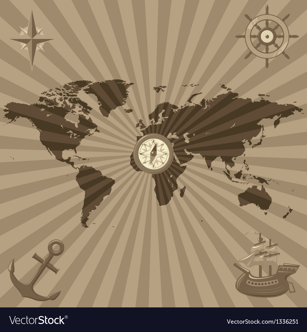 World map with nautical symbols vector | Price: 1 Credit (USD $1)