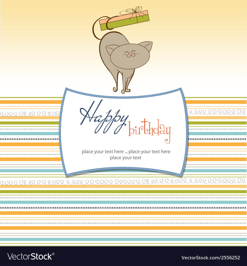 Birthday card with little cat vector | Price: 1 Credit (USD $1)