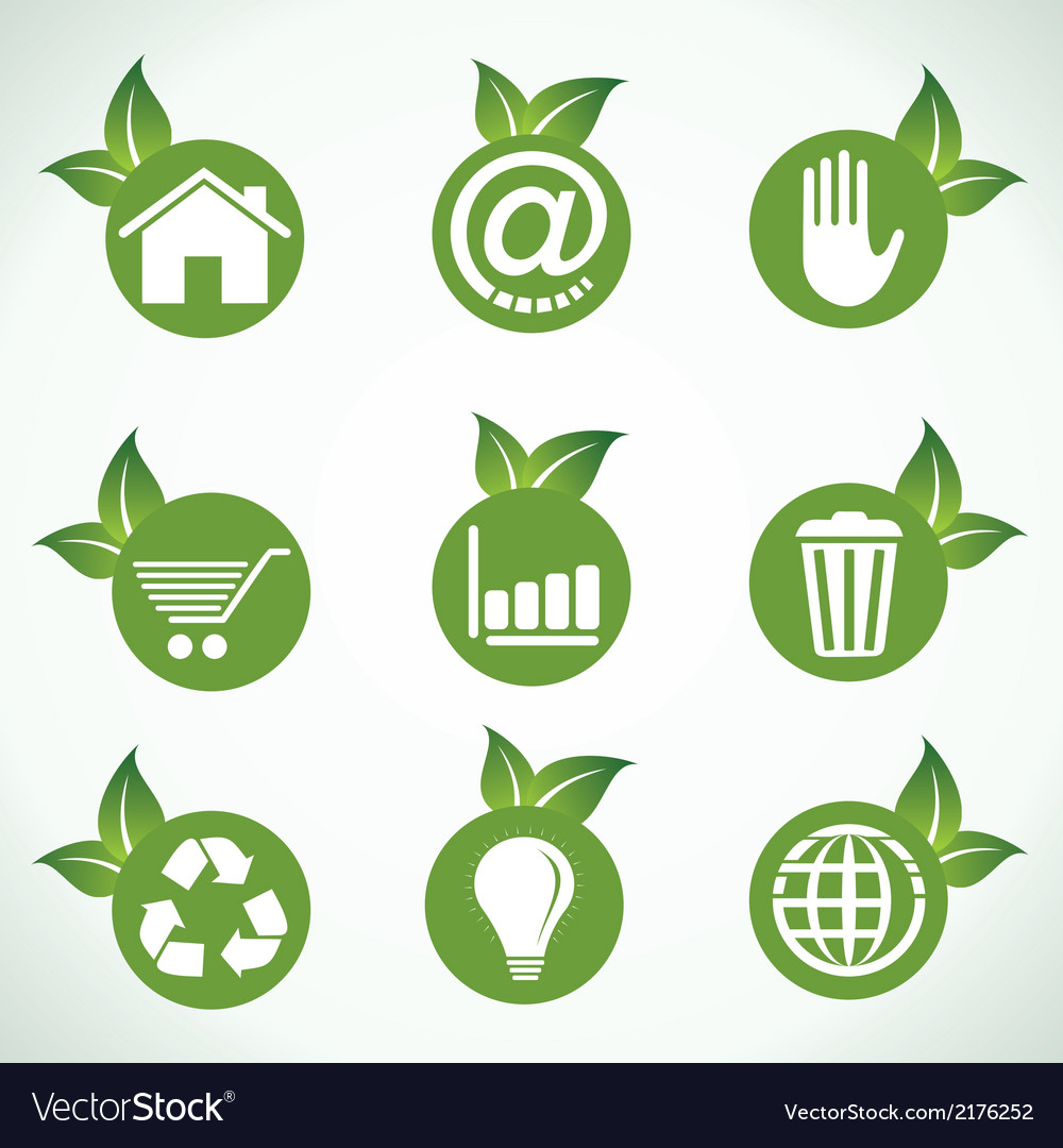 Different icons and design with green leaf vector   Price: 1 Credit (USD $1)