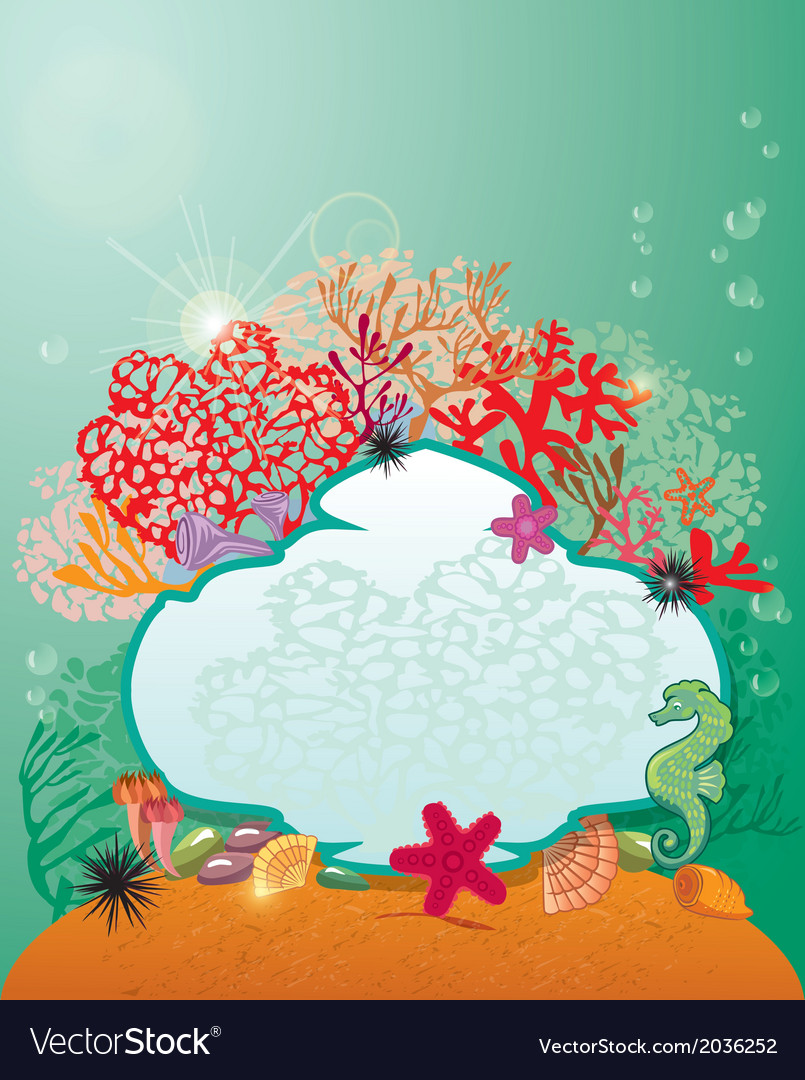 Frame and coral reef and marine life - underwater vector | Price: 1 Credit (USD $1)