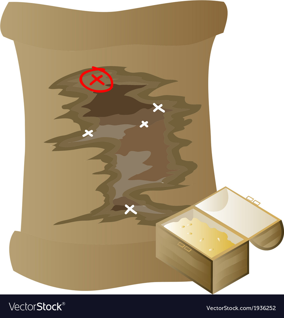 Gold and treasure map vector | Price: 1 Credit (USD $1)