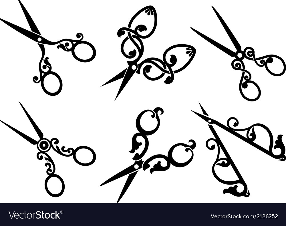 Set of retro scissors vector | Price: 1 Credit (USD $1)
