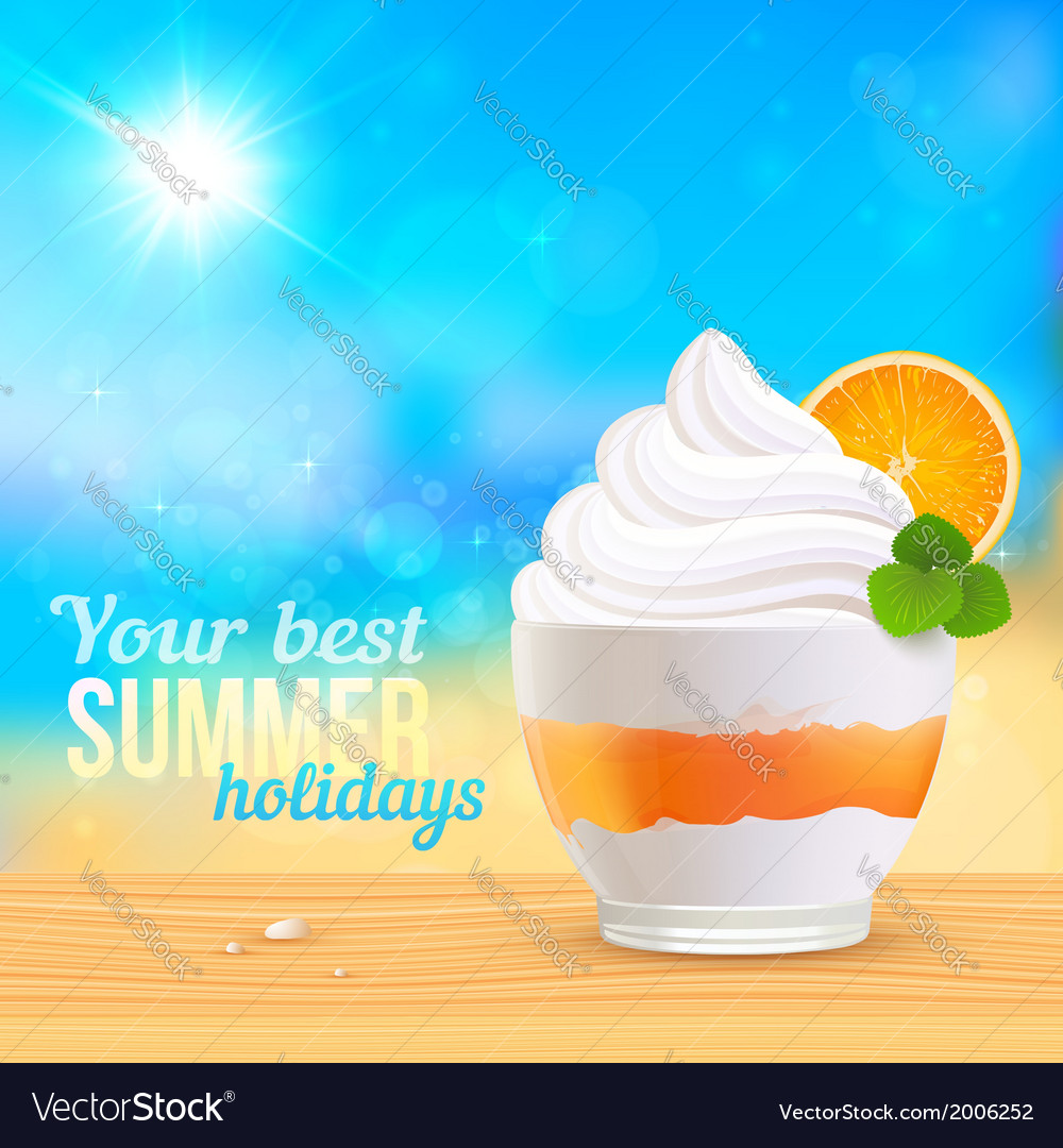 Summer creamy dessert on sunny beach vector | Price: 1 Credit (USD $1)
