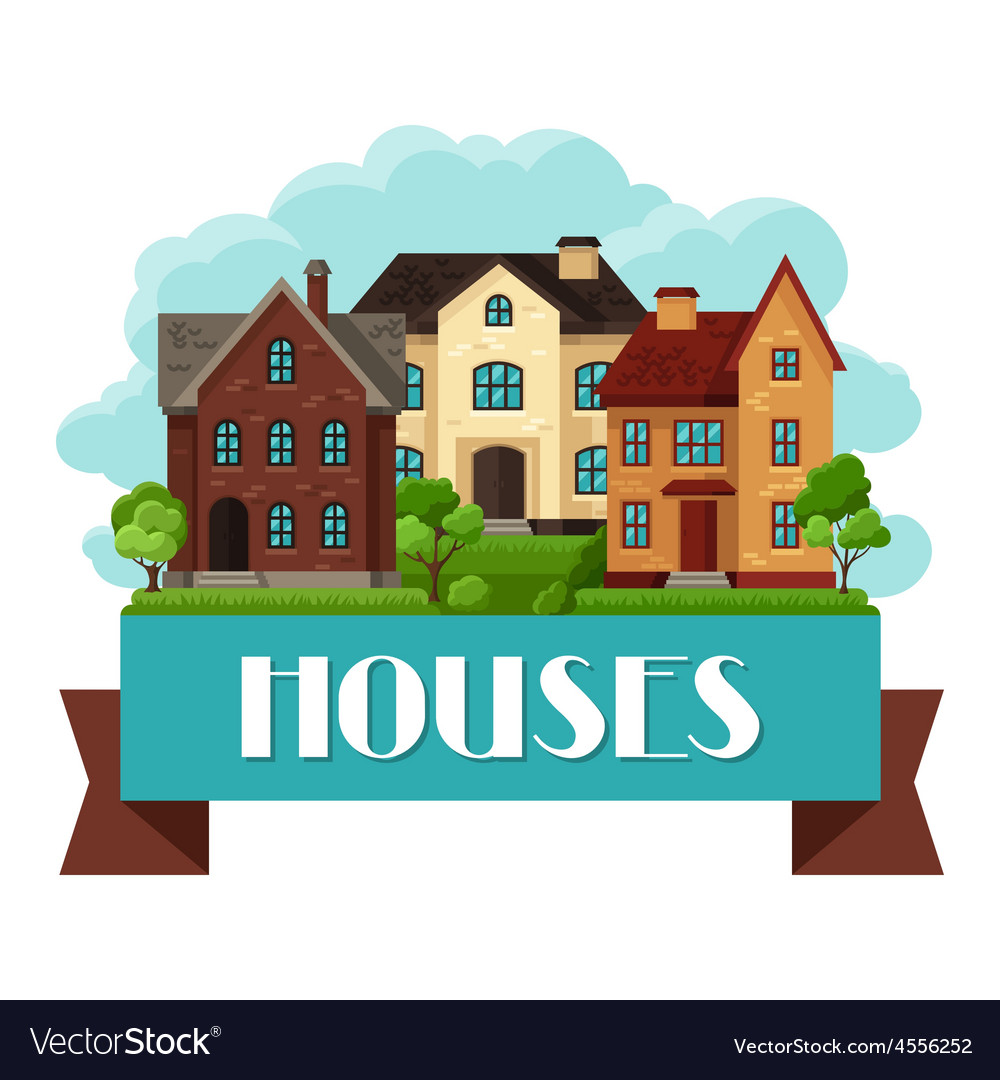 Town background design with cottages and houses vector | Price: 3 Credit (USD $3)