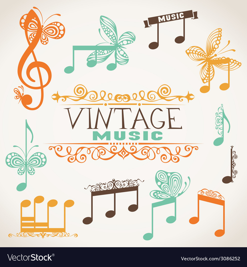 Vintage music design elements vector | Price: 1 Credit (USD $1)