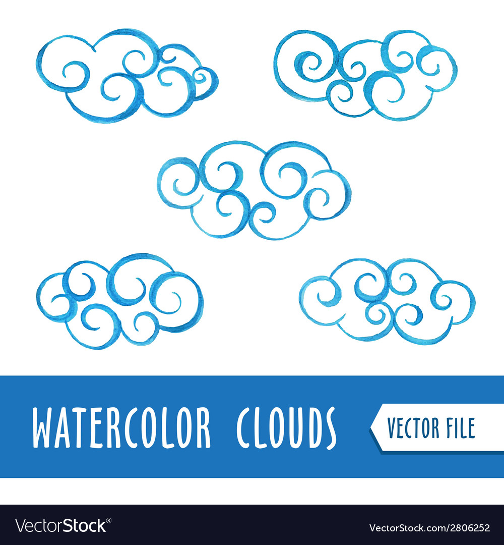 Watercolor clouds vector | Price: 1 Credit (USD $1)