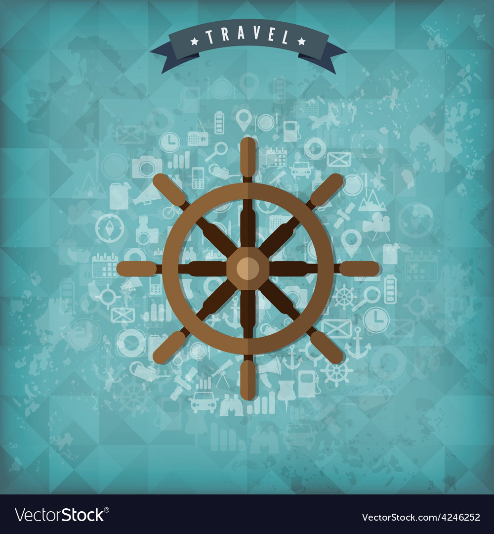 Wheel web icon old vintage travel background vector | Price: 1 Credit (USD $1)