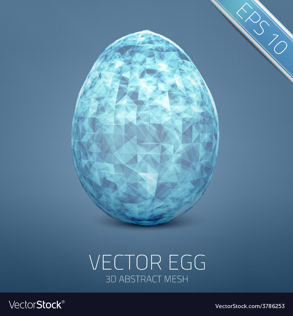 Abstract egg 3d mesh object futuristic vector | Price: 1 Credit (USD $1)