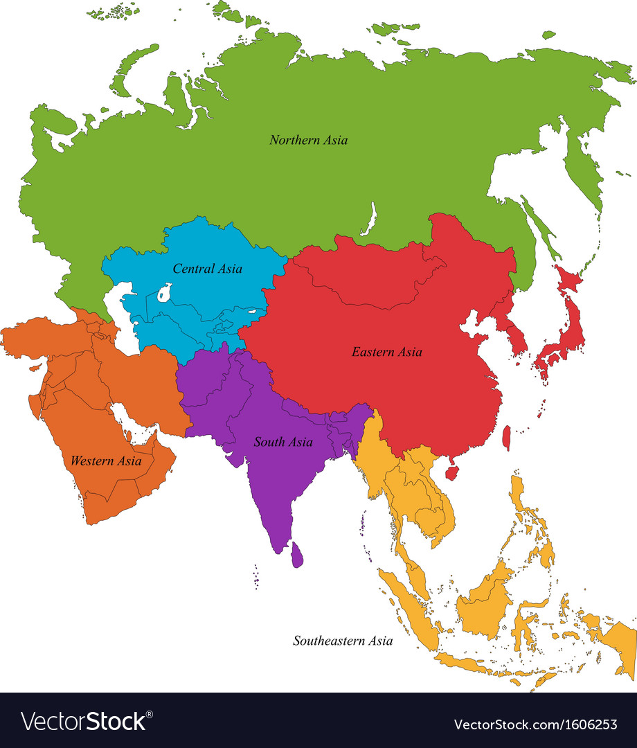 Asia map vector | Price: 1 Credit (USD $1)