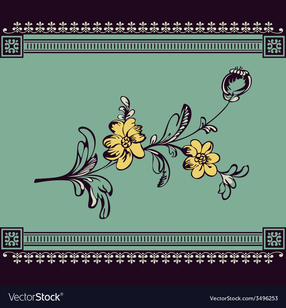 Border vintage flower vector | Price: 1 Credit (USD $1)