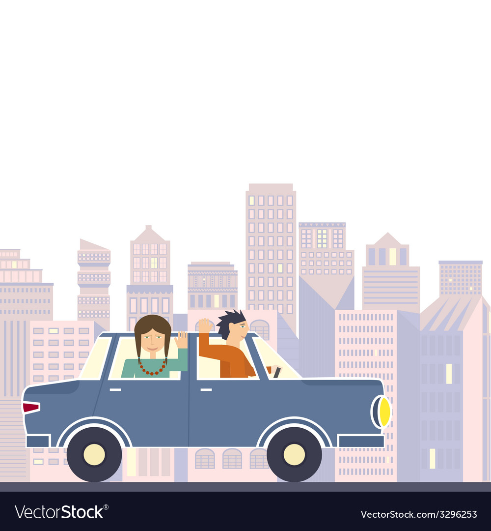 Family in road trip vector | Price: 1 Credit (USD $1)