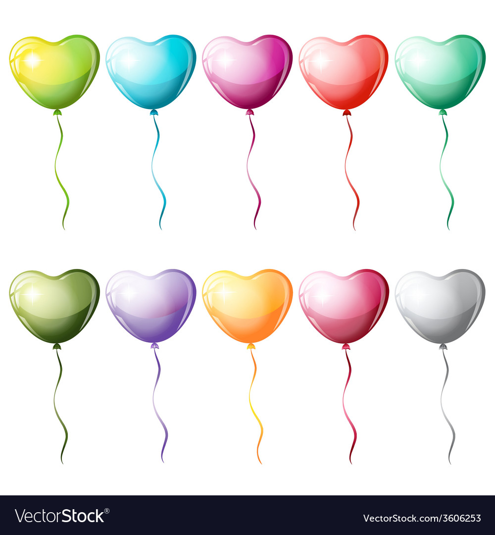 Heart shaped colorful balloons vector | Price: 1 Credit (USD $1)