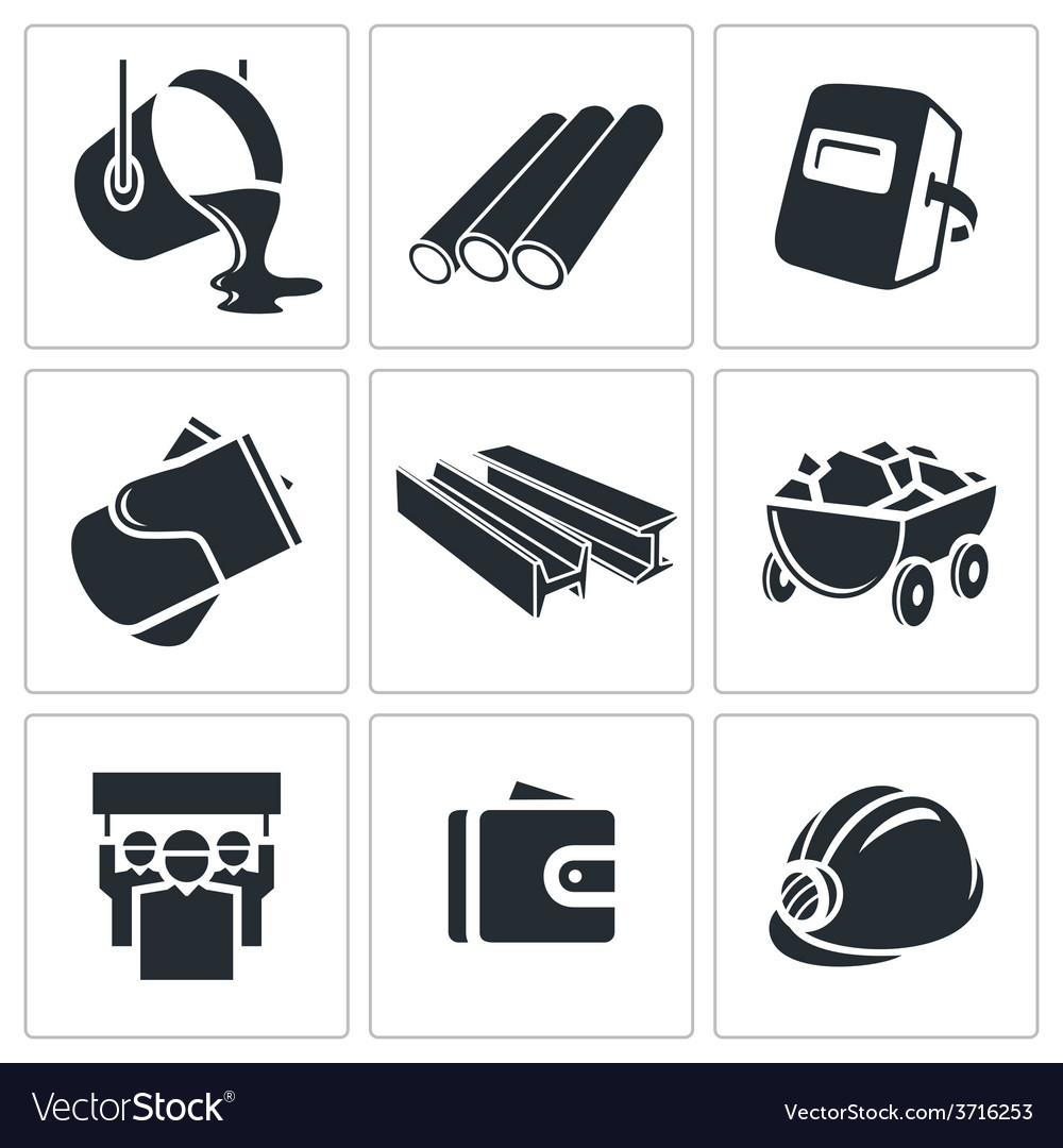 Metallurgy icons set vector | Price: 1 Credit (USD $1)