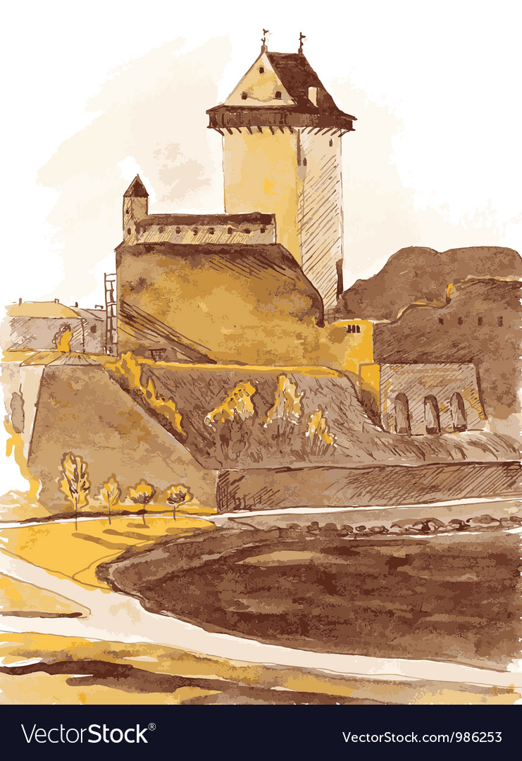 Old fortress in the city of narva estonia vector | Price: 3 Credit (USD $3)