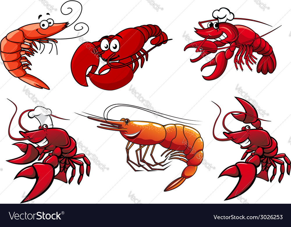 Seafood characters of shrimp prawns and lobsters vector | Price: 1 Credit (USD $1)