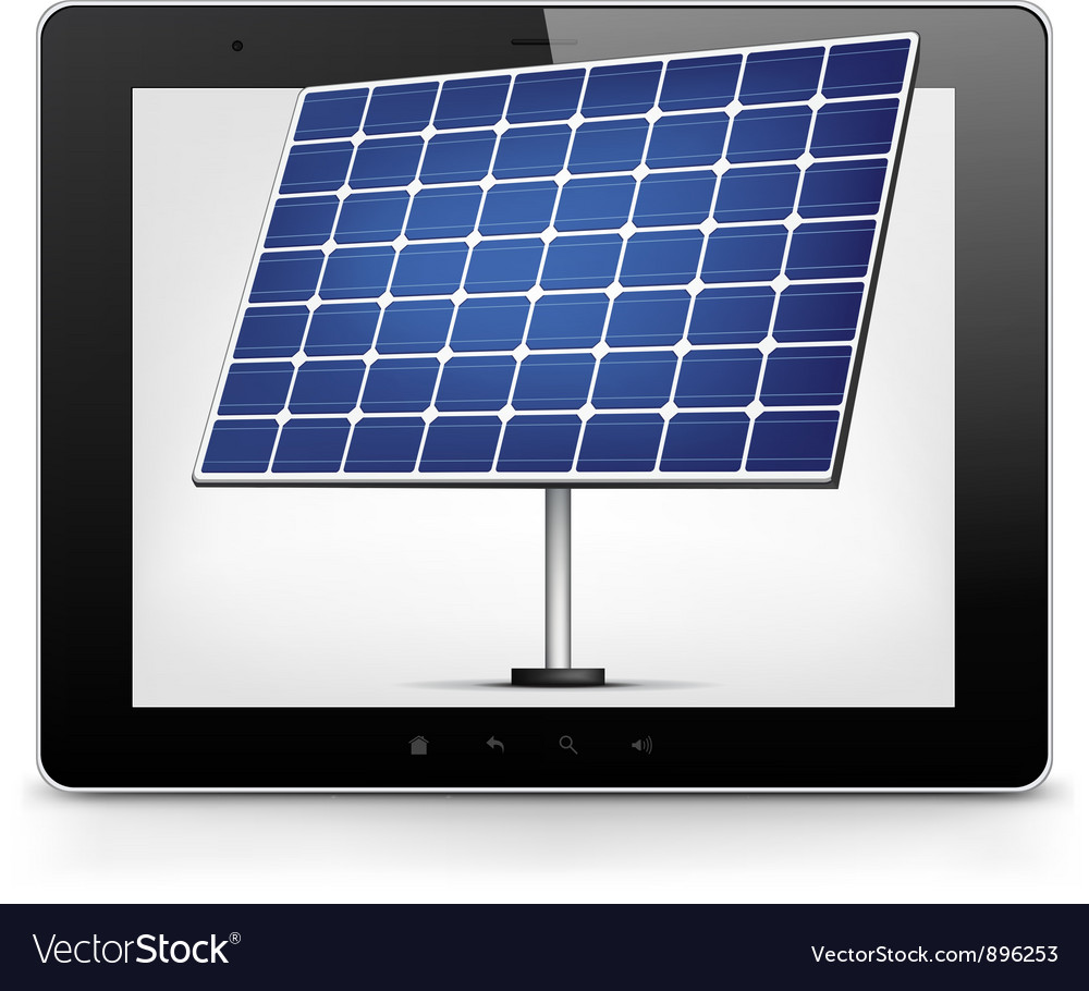 Tablet pc with solar panel vector | Price: 1 Credit (USD $1)