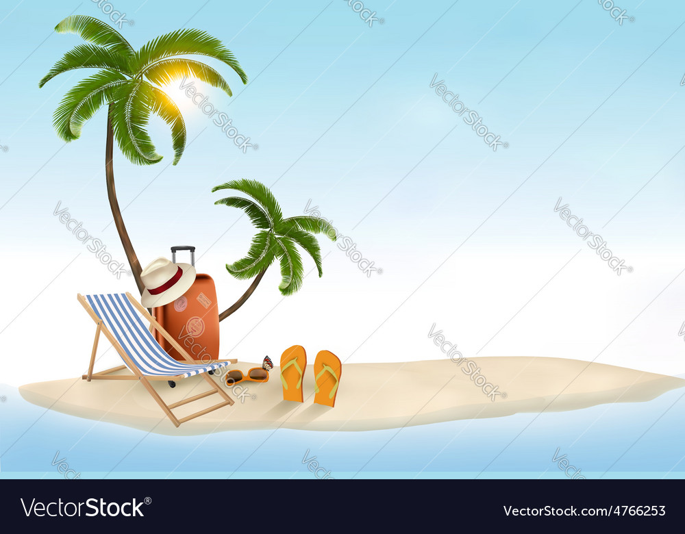 Travel background with beach chair and palms vector | Price: 3 Credit (USD $3)