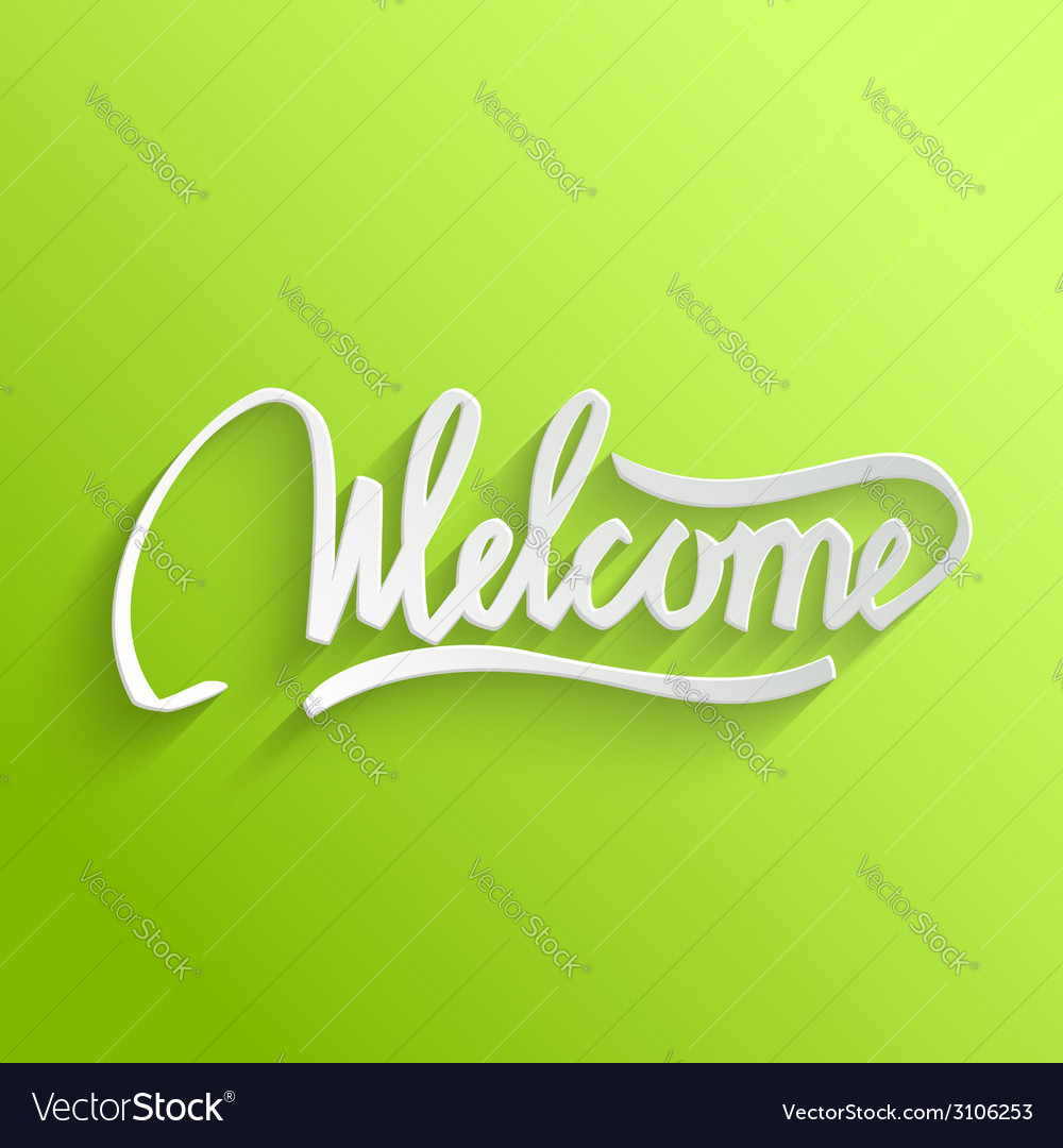 Welcome lettering greeting card vector | Price: 1 Credit (USD $1)