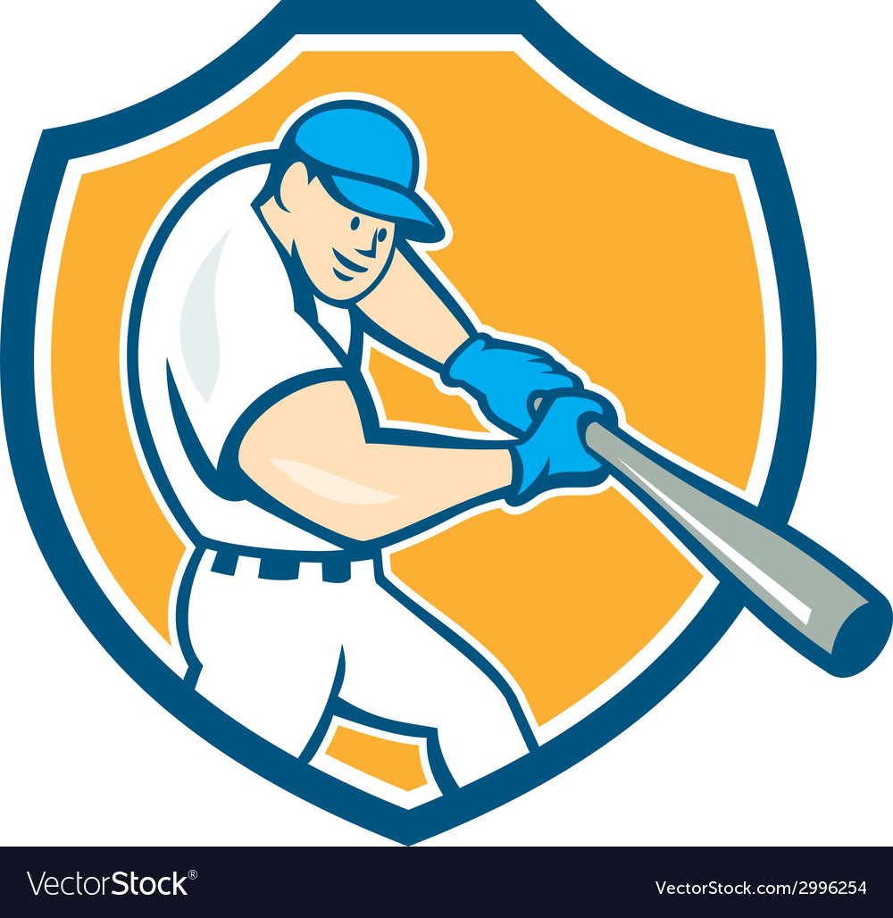 American baseball player batting shield cartoon vector | Price: 1 Credit (USD $1)