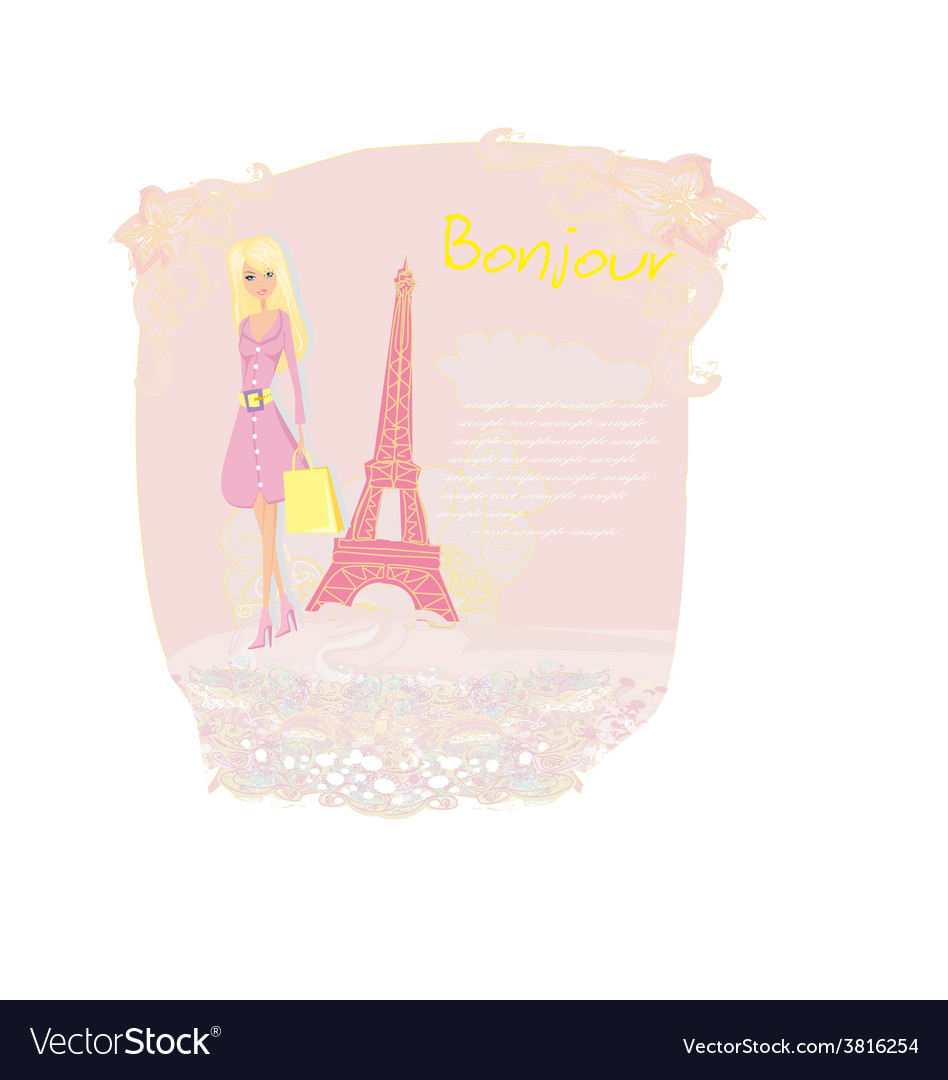 Beautiful women shopping in paris card vector | Price: 1 Credit (USD $1)