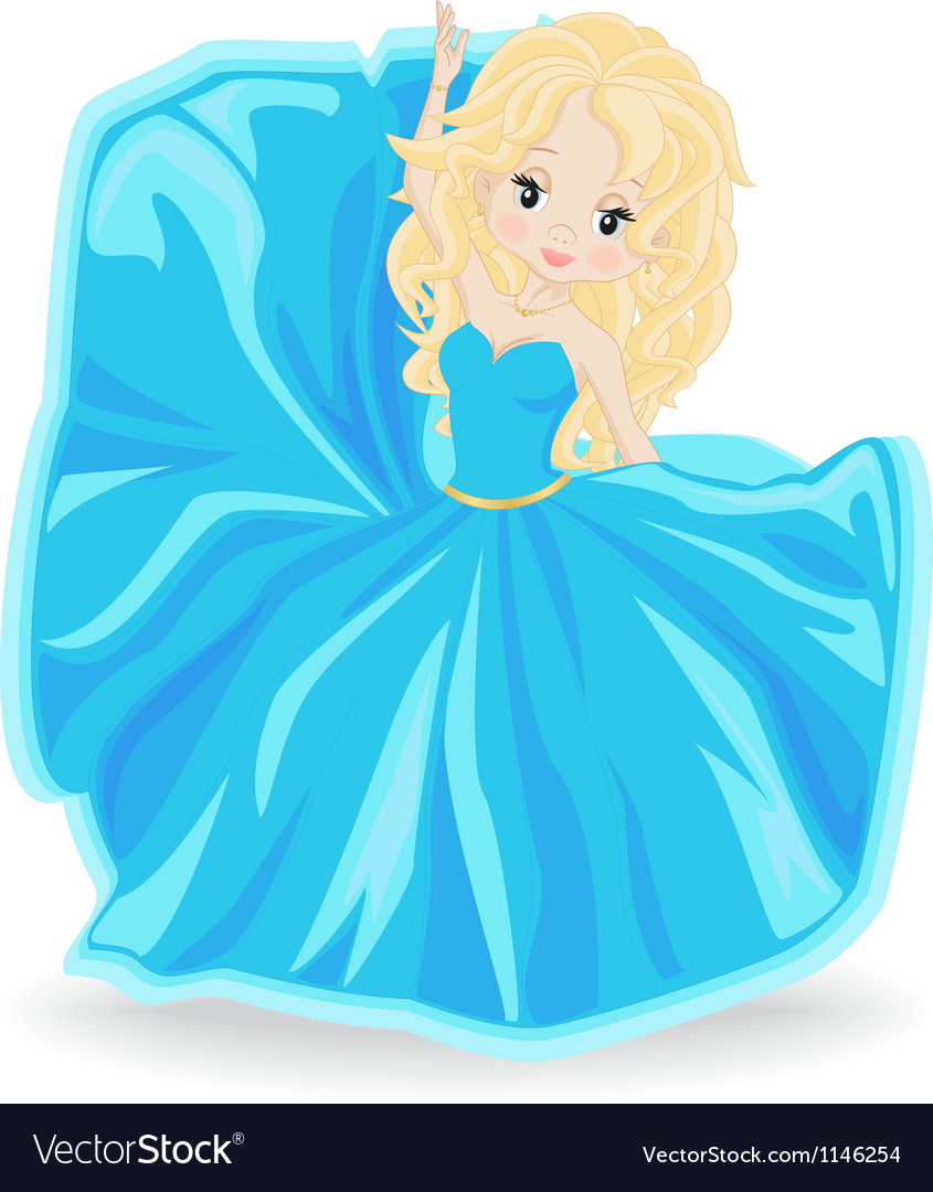 Blonde girl in blue evening dress vector | Price: 1 Credit (USD $1)
