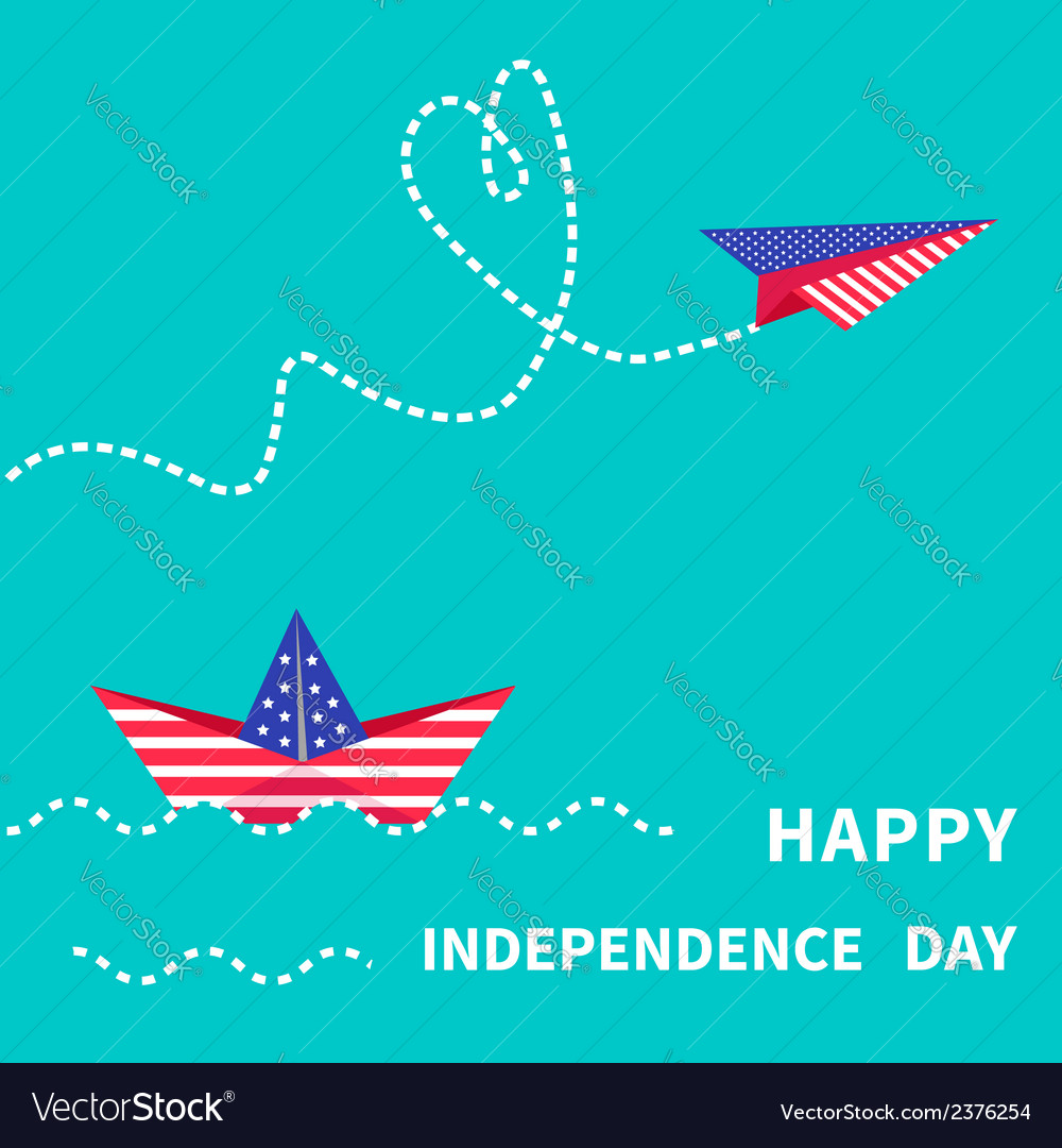 Boat and paperplane happy independence day vector | Price: 1 Credit (USD $1)