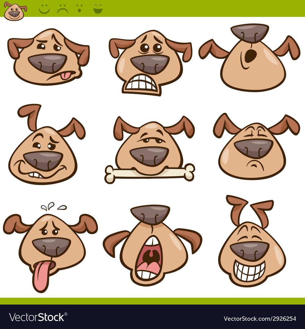 Dog emoticons cartoon set vector | Price: 1 Credit (USD $1)