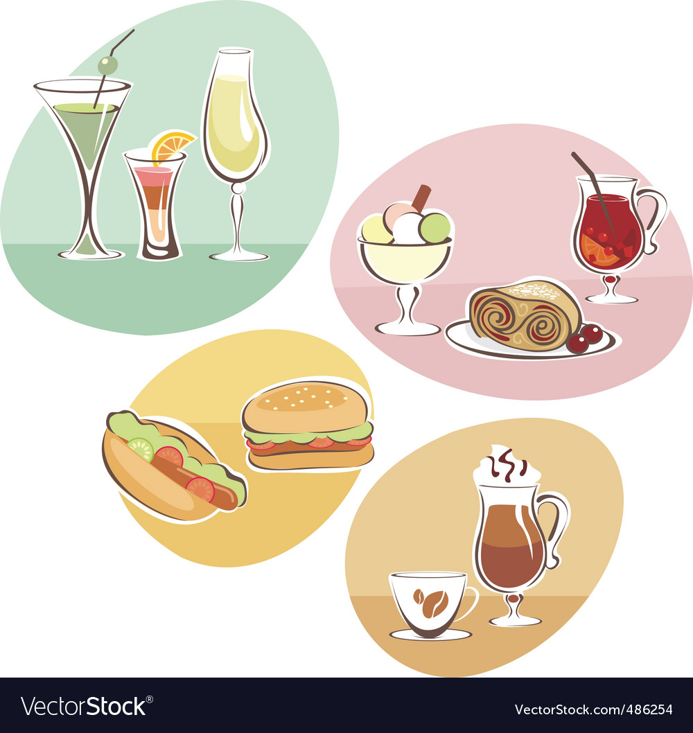 Food and drinks set vector | Price: 3 Credit (USD $3)