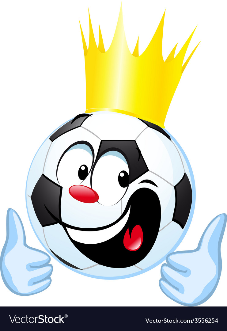 Funny soccer ball with royal crown and thumb up vector | Price: 1 Credit (USD $1)