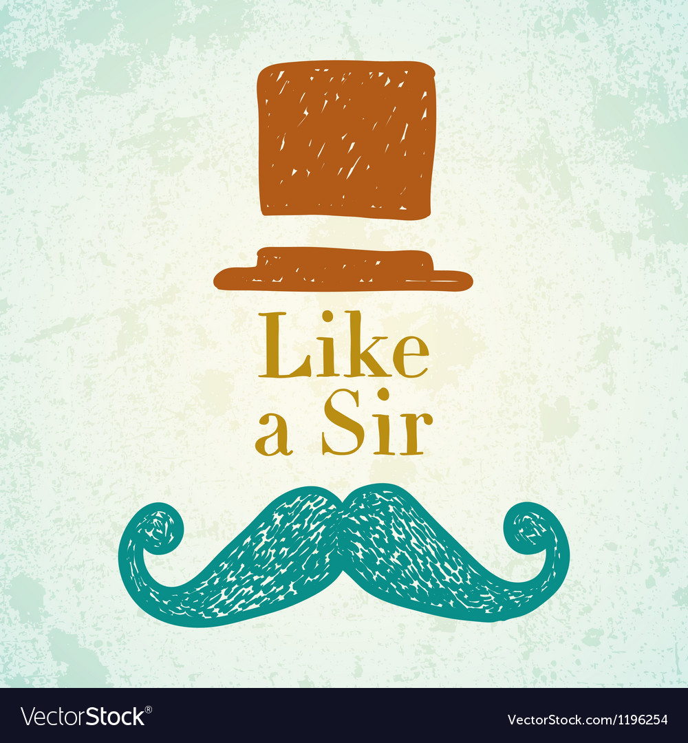 Hat and mustache vector | Price: 1 Credit (USD $1)