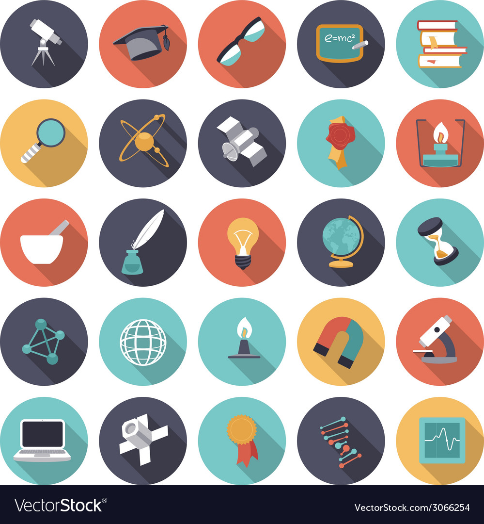 Icons flat colors science vector | Price: 1 Credit (USD $1)