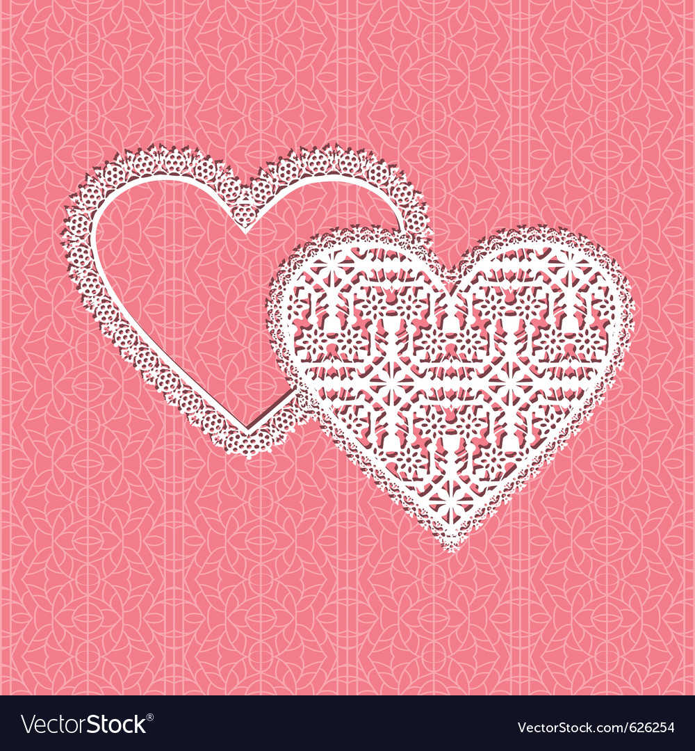 Lace heart frame with floral pattern on lace backg vector | Price: 1 Credit (USD $1)