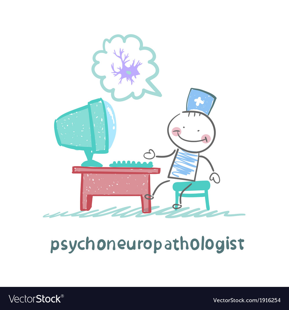 Psychoneuropathologist sits on the workplace at vector   Price: 1 Credit (USD $1)