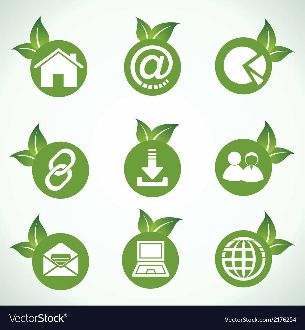 Web icons and design with green leaf vector | Price: 1 Credit (USD $1)