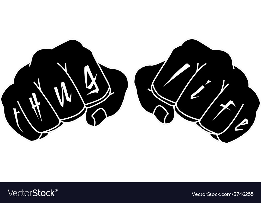 Black color arms with thug life tattoo on fingers vector | Price: 1 Credit (USD $1)