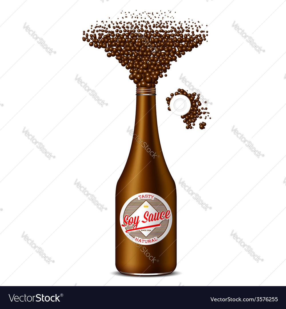 Bottle of soy sauce with scattered spice vector | Price: 1 Credit (USD $1)
