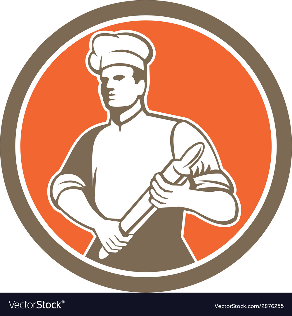 Chef cook rolling pin circle retro vector | Price: 1 Credit (USD $1)